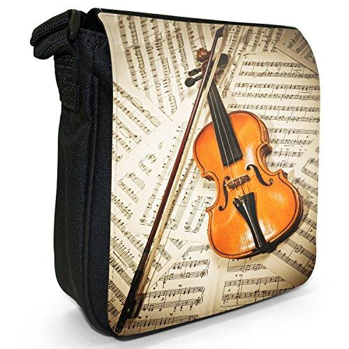 Fancy A Snuggle, Borsa a tracolla donna Geige aus Holz auf Notenblättern