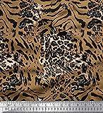 Soimoi Braun Samt Stoff Leopard & Tiger Tierhaut Stoff