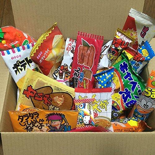 Preisvergleich Produktbild Dagashi Kasten Japanische Snacks 35pcs Umaibo Süßigkeit Gumi Kartoffelchip Kitty Schokolade mit AKIBA-KING Aufkleber