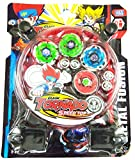 Beyblade Metal Fusion Clash of Tornado Speed Top 4 Beys and 2 Launchers Set