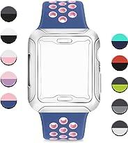 AK Cinturino per Apple Watch 44mm 42mm 38mm 40mm,Cinturini Sportiva in Silicone Morbido e Traspirante con Custodia Protettiva