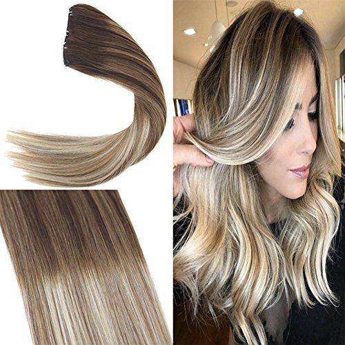 YoungSee 7pcs/120g Voller Kopf Clip in Extensions Echthaar 40 cm Balayage Blond mit Braun Dopplet Tressen Klipp in Extensions 100% Remy Echthaar