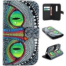 Funda para Moto G3 3rd Generación,PU Cuero Billetera Flip Case Cover Funda de Piel para Motorola Moto G (3ª Generación) con bolsillo de tarjeta-Ojos verdes