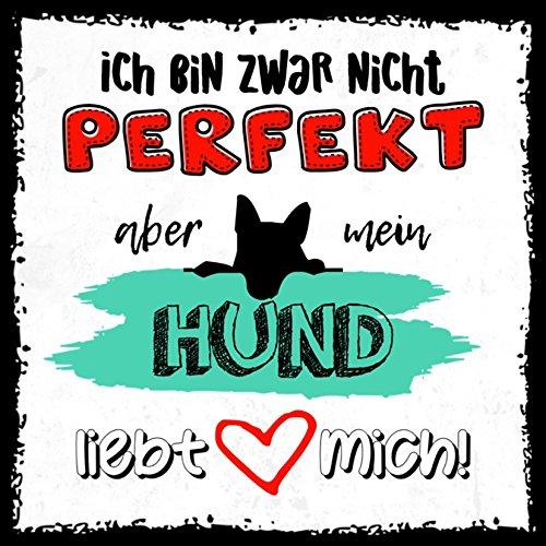 how about tee? - perfekt, aber mein Hund liebt mich - stylischer Kühlschrank Magnet mit lustigem Spruch-Motiv - zur Dekoration oder als Geschenk (Magnet Kühlschrank Hund)