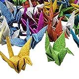 Hangnuo, origami di carta a forma di gru, ghirlanda, ornamento, fai da te, fatti a mano con filo di seta invisibile, per festa di nozze, decorazione domestica scenografica, Glitter Mix Color, 50 Pack