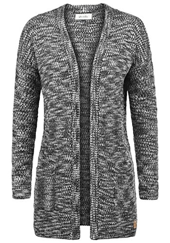 BlendShe Zoya Damen Lange Strickjacke Cardigan Grobstrick Winter Longstrickjacke mit V-Ausschnitt, Größe:XL, Farbe:Black (20100) -