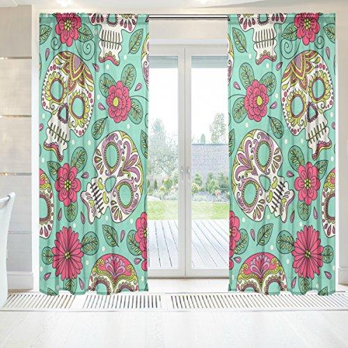 ingbags Elegante Voile Fenster Lange Sheer Vorhang 2Einsätze Totenkopf und Blumen Print Tüll Polyester für Tür Fenster Zimmer Dekoration 139,7x 198,1cm, Set von 2, Polyester, mehrfarbig, 55 x 78 Inch