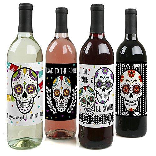 Tag der Toten-Halloween Sugar Skull Wein Flasche Label Aufkleber-Set von 4