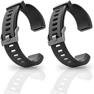 Aneken Ersatz Armband Id115plus Hr Verstellbar Für Smart Armband Fitness Tracker 2 Stück Schwarz Sport Freizeit