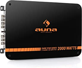 auna Dark Star 2000 • Car Amplifier • HiFi Verstärker • 2-Kanal Auto-Endstufe • 2000 Watt • brückbar • 2/1-Kanal Betrieb • Tiefpass-Filter • orange-schwarz