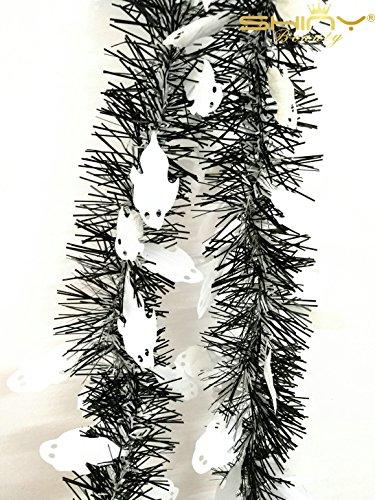 ShinyBeauty Folie Lametta Girlande 8,6cm X6.5Füße, glänzend Weihnachtsbaum Oder Urlaub Dekoration-tg002 6.5FT Black & Ghost