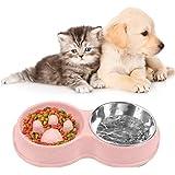 Gamelle pour Chien et Chat Antidérapante, Gamelle Double, Gamelle en Acier Inoxydable pour Chien, Gamelle D'alimentation Lent