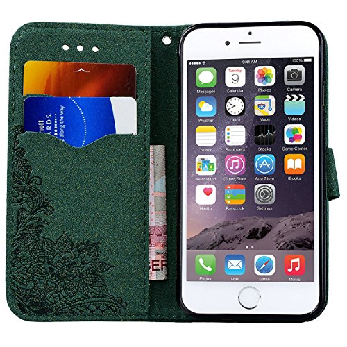 Coque iPhone 7, HB-Int Etui de Protection PU Cuir Protective Case Housse Rabat Flip Silicone Doux Intérieur Cas Couverture avec Fonction Stand et Motif Fleur pour Apple iPhone 7 - Vert Vert
