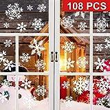 HUHUDAY Fensterbilder Weihnachten, Fensterbilder Schneeflocken, 108 Fensterbild Schneeflocke, Deko Winter, Statisch Haftend, Leicht Zum Anbringen Ohne Kleber, FüR TüRen, Schaufenster, Vitrinen
