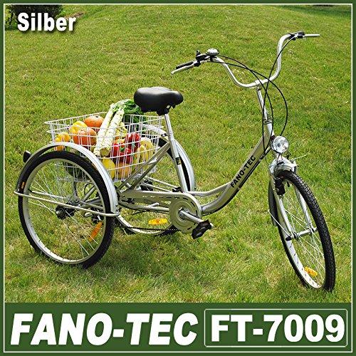 24 Zoll Dreirad für Erwachsene, 6 Gang Senioren Shopping Fahrrad mit Korb(Silber)