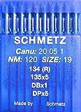 Schmetz, 10 aghi con testa rotonda per macchina da cucire industriale, sistema 134(R), spessore di 120