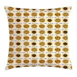 VTXWL Sunflower Throw Pillow Cushion Cover, Cartoon Style Flowers with Seed Farm Garden Illustration Summer Inspired, Decorative Square Accent Pillow Case, 18 X 18 inches, Marigold Brown Grey