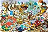 Poster 60 x 40 cm: Baustellen Wimmelbild Winter von Stephan Lomp - Hochwertiger Kunstdruck, Neues Kunstposter