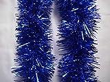kraftz®–2m (Signalübertragung) X 9cm Deluxe Dick Chunky breit glänzend Glitter Weihnachtsbaum Lametta Girlande für Geburtstag Hochzeit Festival mit Prägung Dekoration blau