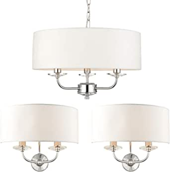 Details about 5 Lamp Ceiling & 2x Matching Wall Light Pack–Chrome Arm & White Shade Chandelier