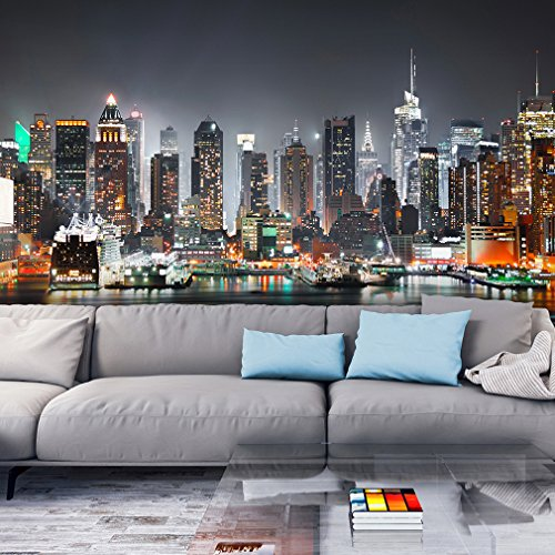 Fototapete New York Stadt City 350x245 cm XXL | VLIES TAPETE - Moderne Wanddeko - Fototapete 3D Illusion - Riesen Wandbild - Design Tapete - Schlafzimmer, Wohnzimmer, Kinderzimmer geeignet | Fototapeten Wandtapete FOB0105b73XL