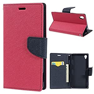 Relax&Shop Luxury Wallet Style Flip Cover For Lenovo A1000 - Pink