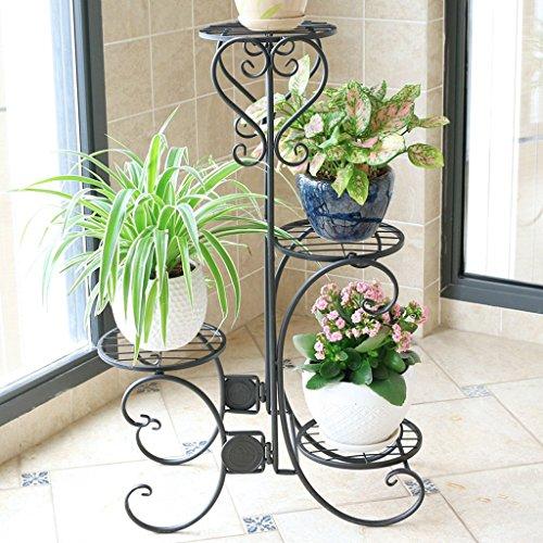 CKH Support de Fleur intérieur de Quatre étages Support de Balcon en Fer escamotable Économie d'espace Pot de Sol Vert