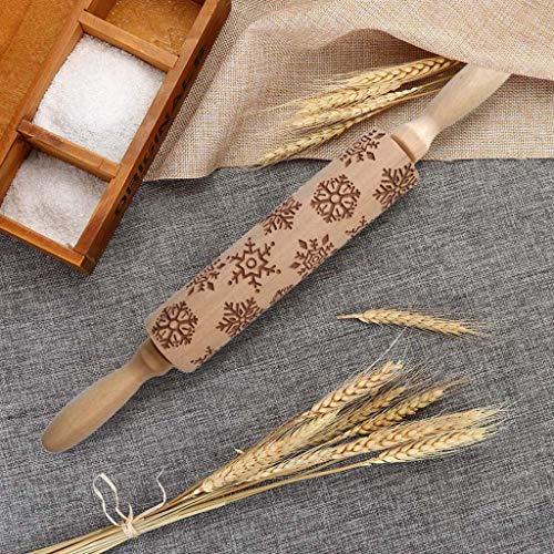 Myfilma 35Cm Weihnachten Nudelholz Gravierte Holz Geprägte Nudelholz Küchenwerkzeug Lotus Holz Nudelholz Küche, Esszimmer Und Bar Liefert
