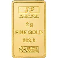 Bangalore Refinery 24k (999.9) 2 gm Yellow Gold Bar