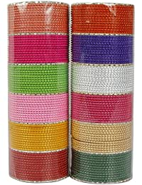 MUCHMORE Unique 12 Color Multicolor Metal Plain Bangle Set for Women
