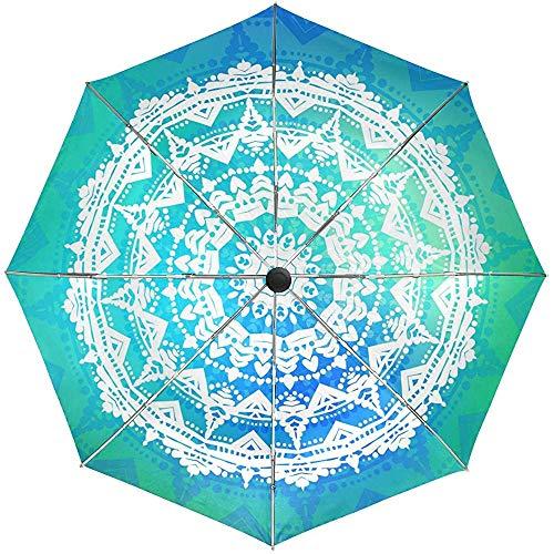 Merle House Ornament Mandala Galaxy - Paraguas automático a Prueba de Viento; Mehndi Boho Travel Sun Rain Paraguas para Exteriores