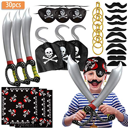 SPECOOL Piraten Zubehör Set mit Piraten Augenklappe Piratenschwert Piratenhaken Ohrringe Set Fake Moustache Piratenkapitän Kostüm Set für Kinder