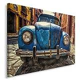 Feeby. Wandbild - 1 Teilig - 70x100 cm, Leinwand Bild Leinwandbilder Bilder Wandbilder Kunstdruck, KÄFER, AUTO, MOTORISIERUNG, BLAU