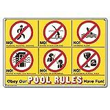 Schild 41357 von Poolmaster mit Baderegeln in Symbolsprache und auf