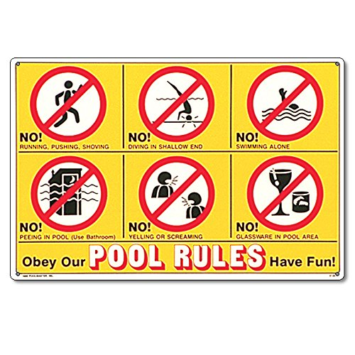 Schild 41357 von Poolmaster mit Baderegeln in Symbolsprache und auf Englisch, für private Pools