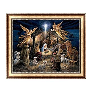 Pintura de diamantes, Qintaiourty Navidad DIY 5D pintura de diamantes ángeles bordado punto de cruz manualidades decoración del hogar