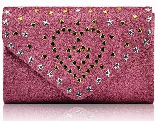 Trendstar Ladies Evening Party Glitter Stella Di Metallo Cuori Avambraccio Borsa Rosa