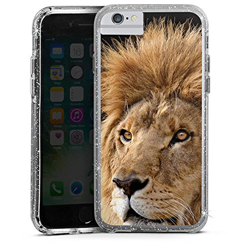 Apple iPhone 6s Plus Bumper Hülle Bumper Case Glitzer Hülle Lion King Lion Raubkatze Bumper Case Glitzer silber