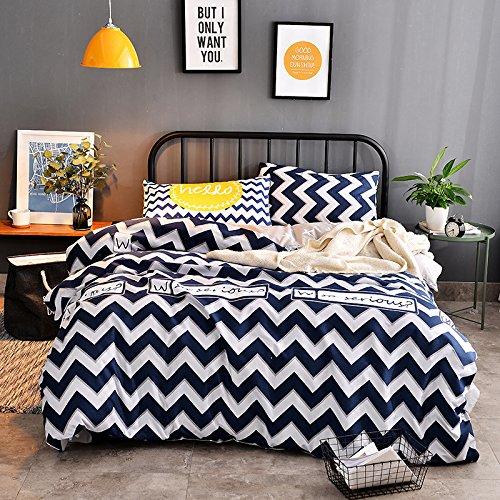 KFZ Bett Set (Zwei Full Queen King Size) [4: Bettbezug, Bettlaken, 2Kissenbezüge] Keine Tröster DL gelb blau Ripple Stripe Print Design für Kinder, Erwachsene, Microfaser, Enjoy, Blue, Twin 59