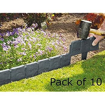 fineway lot de 10 blocs en plastique effet pav planter pour bordure de jardin jardin. Black Bedroom Furniture Sets. Home Design Ideas