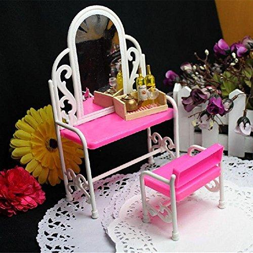 MAJGLGE Madgle Schminktisch-Möbel-Zubehör-Set für Barbie-Puppen, Kinderspielzeug-Haus, Pink