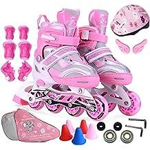Crayom Niños y niñas patines de los niños Un conjunto completo de niños patines de sudor Ajustable lleno flash rueda zapatos estudiantes universitarios profesionales adultos patines Única fila de zapatos planos y hombres y mujeres ( Color : Pink , Size : M )