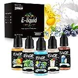 E Liquids ohne Nikotin für Elektronische Zigarette, E Liquid 5x30ml, Nikotinfrei E Zigarette Liquid 60VG/30PG/10 Aroma, 0,0 mg Nikotin 5er Pack