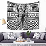 HANSHI Elefant Wandteppich mit Böhmischem Stil Indisch Hippie Wanddeko Wandbenhang Wandtuch Tischdecke Dekoration für Schlafzimmer Wohnzimmer HYC21(5#)