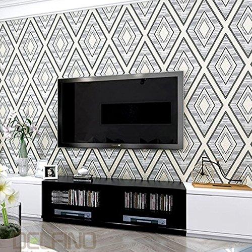 3D Tapete Diamant Muster Wohnzimmer Hintergrund Tapete modernen minimalistischen Schlafzimmer Vlies Kaufen drei Get One Free ( Color : Black and White )