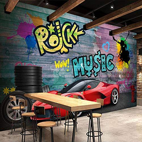 Fototapete Ferrari Sportwagen Stadt Graffiti Wandbilder Papel De Parede 3D Restaurant Cafe Bar Hintergrund Malerei-400×280CM