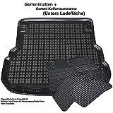 AME Set - Auto-Gummimatten Fußmatten; Geruch-vermindert und passgenau + Auto-Gummiwanne; Schutzmatte für den unteren Laderaum 547631et+231237KW
