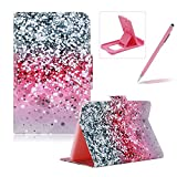 For Samsung Galaxy Tab 4 10.1' SM-T530 Flip Leather Case,For Samsung Galaxy Tab 4 10.1' SM-T530 Slim Lightweight Wallet Kickstand Case,Herzzer Fashion Pretty [Pink Glitter Sands Printed] Shockproof Scratch Resistant Perfect Fit PU Leather Wallet Purse Folio Smart Stand Cover with Card Cash Slot Soft TPU Inner Case Protective Skin For Samsung Galaxy Tab 4 10.1' SM-T530 + 1 x Free Pink Cellphone Kickstand + 1 x Free Pink Stylus Pen