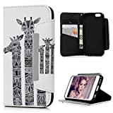 iPhone 6S Plus / iPhone 6 Plus Case Cover , Lanveni Premium PU Leather Wallet Flip White Case Cover Pouch [Magnetic Closure ** Stylish Design] [Book Style] with Card Slots & Stand Function for iPhone 6s Plus & iPhone 6 Plus 5.5'' - Giraffes Printing