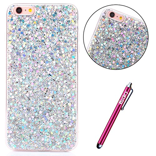 iPhone 7/8 Plus Coque de Luxe,iPhone 7/8 Plus Case Shockproof,Hpory Beau élégant Luxury Cristal Clair Bling Diamant Strass Brillante Bling Ring Stand Holder Ultra Thin PC dur + TPU Gel Silicone Etui H Paillette,Argent